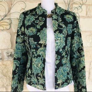 Turquoise Floral Brocade Blazer